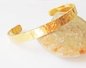 Brass Cuff Bracelet, Hammered Textured Finish Cuff, Brass Bangle Bracelet, Thin Cuff, Hand Forged Bracelet