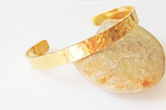 Brass Cuff Bracelet with a Hammered Textured Finish Cuff, Brass Bangle Bracelet, Thin Cuff