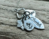 Silver Personalized Necklace.  Unique Initials Necklace. Silver Geometric Necklace.  Four Charm Necklace.