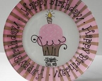 Kids Birthday Party - Custom Birthday Plate - Cake Plate - Hand Painted Personalized Birthday