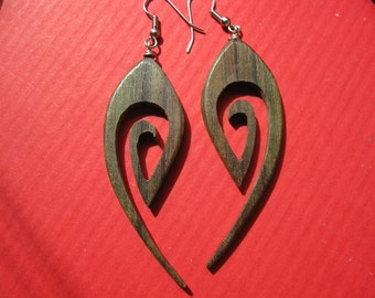 Maori design tribal hoop earrings