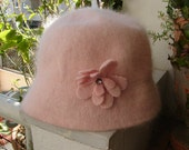 Shabby chic French,vintage,soft baby pink,cloche hat. 60 cms.