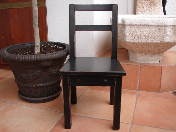 Shabby chic,distressed chateau noir/ black painted,child's/children's vintage wooden chair.