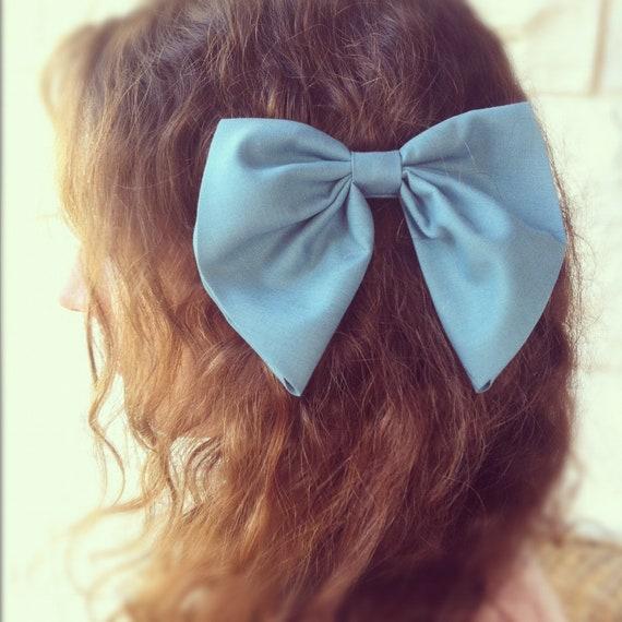 Teal BIG unique hair bow