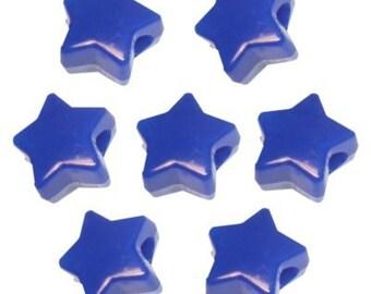 288 Blue Opaque Star Pony Beads