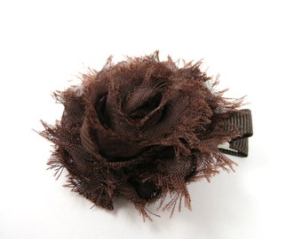 Brown Shabby Flower Hair Bow - Brown Flower Hair Bow - Shabby Chiffon Hair Clip - Infant Toddler Child Adult Hair Clip