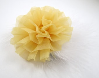 Yellow and White Hair Bow - White Feather Hair Bow - Yellow Hair Bow - White Hair Bow - Feather Hair Clip