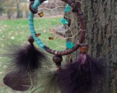 brown and turquoise dreamcatcher necklace
