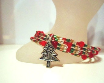 Christmas Tree Charm Red/Green/Gold/Silver Xmas Memory Wire Expandable Cuff Bracelet by JulieDeeleyJewellery On Etsy