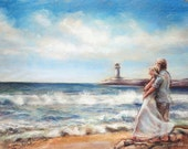 Pastel Painting Seascape original couple beach art ocean 20x15.5 wall art