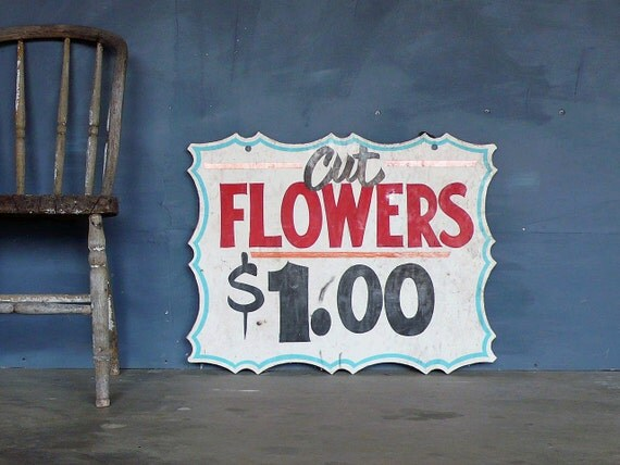 1950's hand-painted wood 'Cut Flowers' double sided sign