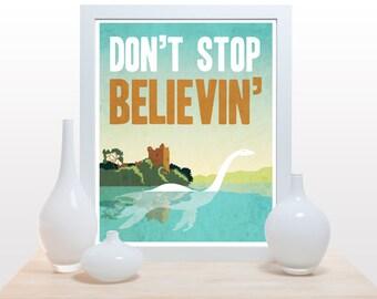 Don't stop believin' Loch Ness Monster - Poster minimal nessie scottish clean modern print green minimal fun modern white wall art decor