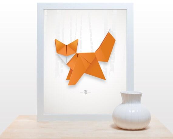 origami fox print poster minimal modern decor wall art paper