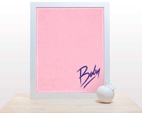 Nobody puts baby in a corner - Dirty Dancing print wall art decor 80's movie poster minimal 80s throwback jennifer grey patrick swayze pink