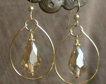 Hand-bent gold-filled hoops + Austrian crystal teardrops