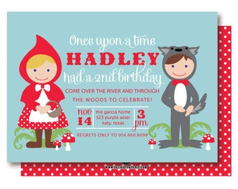 Little Red Riding Hood Invitations, Fairy Tale Birthday Party Invitations, Printable or Printed
