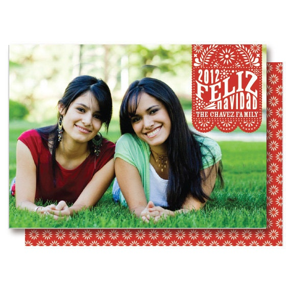 Feliz Navidad Mexican Christmas Card, Papel Picado Photo Card