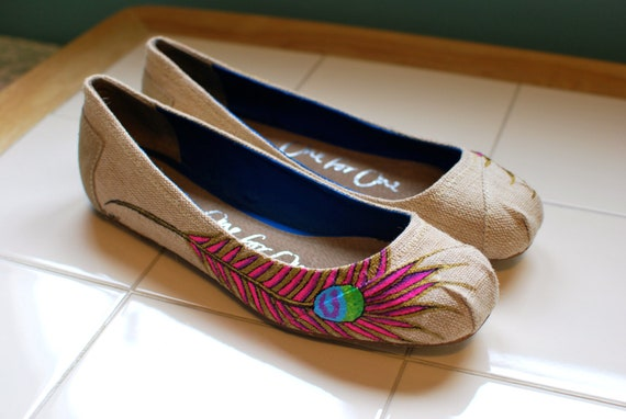 Peacock Feather TOMS Ballet Flats