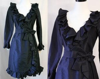 Vintage Mollie Parnis Boutique Navy Silk Ruffle Dress