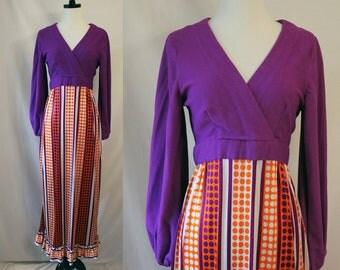 Vintage 70's Maxi Dress Polkadot Striped Purple and Orange