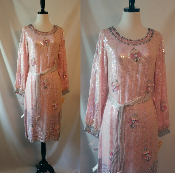 Vintage Dress Sequined Party 70s Raffinee Pink