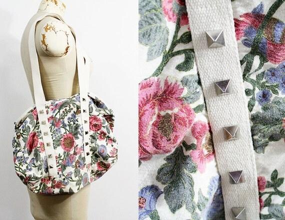Pyramid Spiked Vintage Floral Duffel Bag