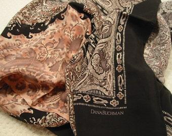 vintage very large  'Dana Buchman' silk scarf  -  never worn