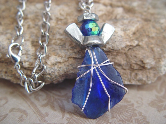 Wire Wrapped Cobalt Blue Glass Stone & Silver Wingnut Angel Charm Necklace