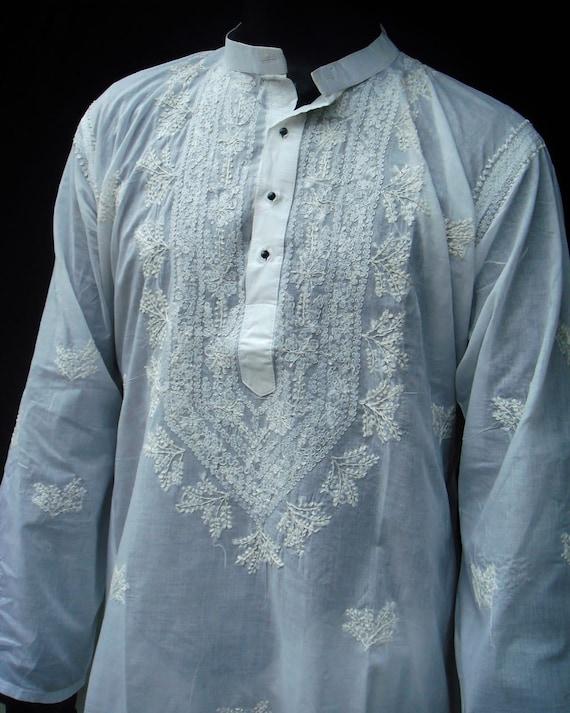 White Mens Long Kurta Shirt Salwar summer cool Handmade Embroidered ...