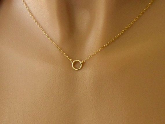 Tiny Gold Circle Necklace - Dainty Gold Filled Circle on Gold Filled Chain