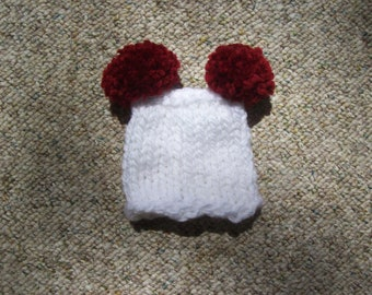 Hand Knit,White,Burgandy,Gift,Boy,Girl,Pom Pom,Hat,Preemie,Infant,Dolls,Small,Photos