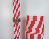 Red / White Stripe Baking Cup ~ Favor Cup ~ with Straws