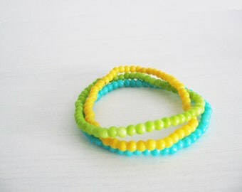 Colorful tropical bracelet- boho chic style- lime green, yellow, light blue