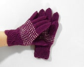 Hand Knitted Gloves - Purple, Size Medium
