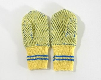 Hand Knitted Mittens - Yellow and Blue, Size Small