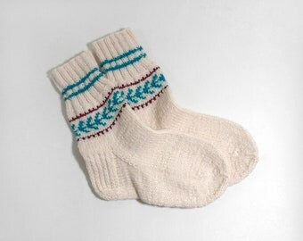 Hand Knitted Socks - White, Small