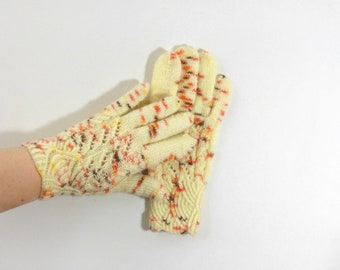 Hand Knitted Gloves - Yellow, Size Small