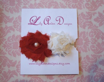 Large red and min cream shabby flowers on skinny cream elastic headband/ Newborn headband/ Holiday headband