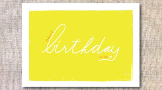 """Love Birthday Card - Lemon, Orange, White - Folded 4.5"""" X 6.25"""" - Blank Inside"""