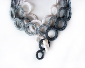 Ombrè crochet necklace - Fashion fabric necklace - Fiber necklace  - modern crochet - necklace cashmere