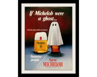 "1977 MICHELOB & Ghost Beer Ad ""Surpise People"" Vintage Advertising Wall Decor Art Print"