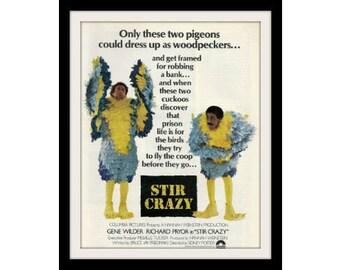"""1980 Stir Crazy Movie Ad """"Gene Wilder & Richard Pryor"""" Advertisement Print"""