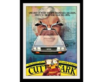 "DMC DeLOREAN Car Art Ad ""Cutty Sark"" Vintage Advertising Wall Decor Print"