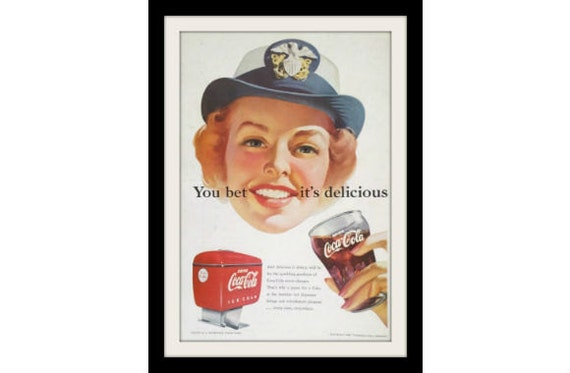 COCA COLA US Navy Redhead Girl Art Ad, Vintage Advertising Wall Decor Print