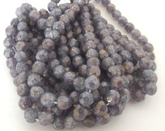 Czech Beads, Luster Stone Amethyst Firepolished Czech Glass Beads, 6mm - 25 beads