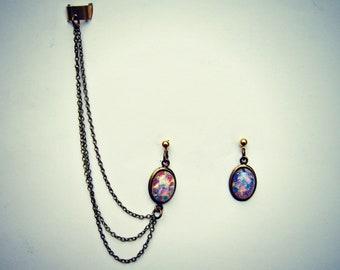 ear cuff pink opal earrings, opal earrings, ear cuff with chains, chains ear cuff, hipster earrings