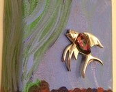 Fish Brooch -Canvas Art Mini - Signed vintage - fish bowl - Unique Brooch Art