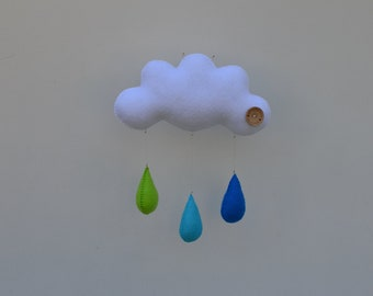 Childrens mobile, Hand sewn raincloud with 3 drops