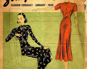 1930s Simplicity Fashion Forecast for January 1938 Frock Styles and Pattern Catalog  -  PDF 1938 a