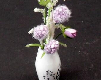 Dollhouse Miniature Vase with Lilac Arrangement (1/12)